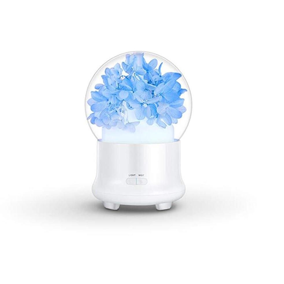 バン不利菊ACHICOO アロマディフューザー 加湿器 花 電気 カラフル LED ミストフォッガー かわいい 安全 24V 12 x 12 x 16.8cm ブルー