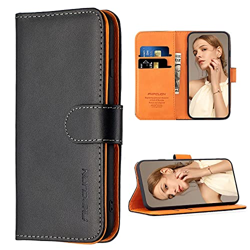 FMPCUON Hülle Hülle Kompatibel mit Samsung Galaxy A42 5G - Premium PU Leder Brieftasche Handyhülle - Handy Lederhülle Cover Schutzhülle Etui Tasche Book Klapp Style Handytasche, Schwarz