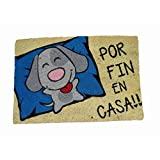 koko doormats Felpudo Entrada para casa y Jardin, Perro por Fin en Casa!!, felpudos Entrada casa Originales y Divertidos, 40x60x1.5 cm, Coco con Base Antideslizante de PVC