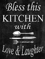 このキッチンを愛と笑いで祝福してください メタルポスター壁画ショップ看板ショップ看板表示板金属板ブリキ看板情報防水装飾レストラン日本食料品店カフェ旅行用品誕生日新年クリスマスパーティーギフト