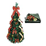 Top Treasures Fully Decorated Pop Up Christmas Tree | Pre lit Instant Pull Up Christmas Tree with Storage Bag (4ft)