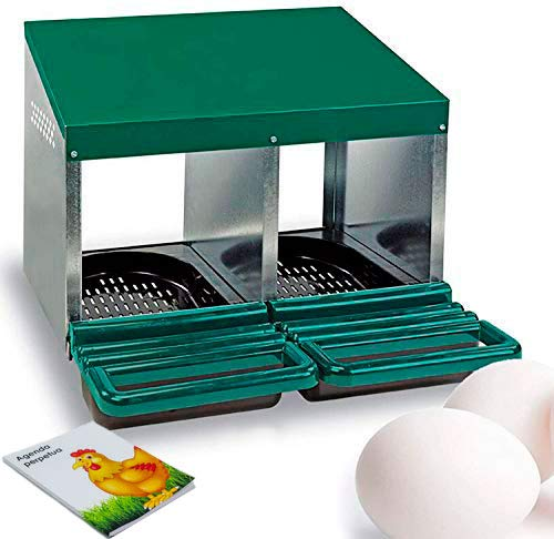 FINCA CASAREJO Ponederos para gallinas + 2 Huevos macizos de Regalo + Bloc de Notas. Ponedero Eco 2 Huecos
