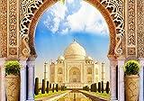 wandmotiv24 Papiers peints Porte de l'Inde Taj Mahal L 300 x 210 cm - 6 pièces Papiers peints photo, peinture murale, papiers peints à motifs, papiers peints intissés Orient, Asie, Marbre M1226