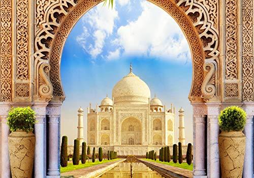 wandmotiv24 Fototapete Taj Mahal Indien Tor-bogen, XXL 400 x 280 cm - 8 Teile, Fototapeten, Wandbild, Motivtapeten, Vlies-Tapeten, Orient, Asien, Marmor M1226