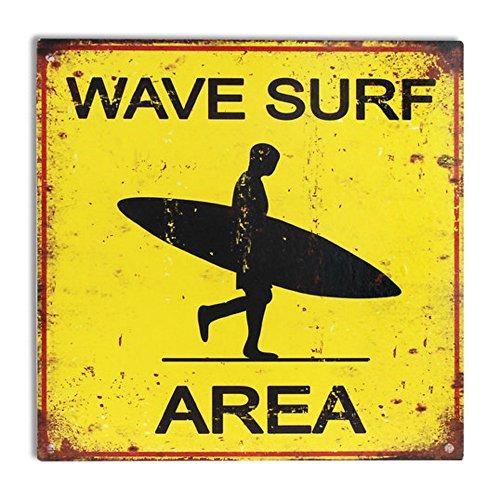 CAPRILO Placa Decorativa Pared de Metal Área Surf. Cuadros y Apliques. Adornos Hogar. 30 x 30 x 0.1 cm.