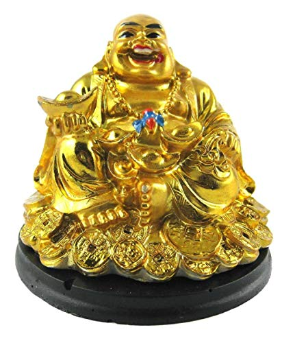 Creativegifts Feng Shui Laughing Buddha Sitting on Gold Coin Statue,Happy Man for Good Luck, Wealth, Prosperity at Home, Office