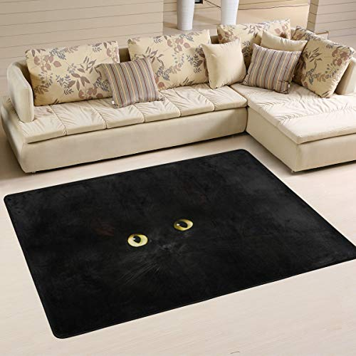 XiangHeFu Tapis de Sol Personnalisable Motif Animal de Nuit Noir 91 x 61 cm, Polyester filé, Image 148, 36x24 inches