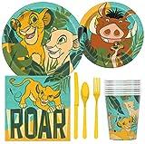 BashBox Paquete de suministros para fiesta de cumpleaños con diseño de Rey León de Disney, incluye platos de tarta y almuerzo, cubiertos, vasos, servilletas (8 invitados)