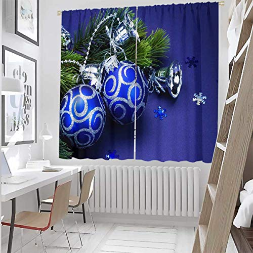 Toopeek Christmas Blackout Curtain Snowman with hat in The Garden with Gift Box and Lantern Image Set of Two Panels for Curtains W52 x L72 Inch