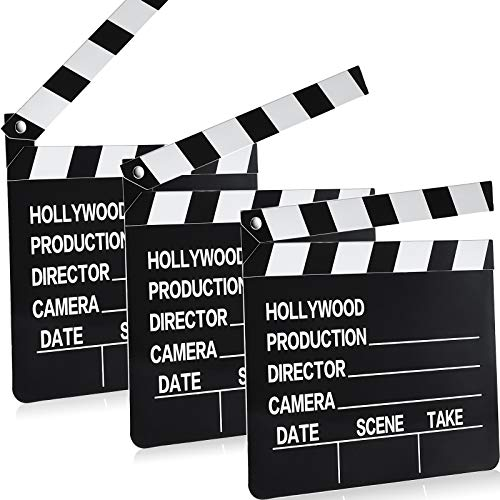 10 Pieces Movie Clapboard Cardboard Clapper Board Writable Cut Action Scene Board for Movies Films Photo Props