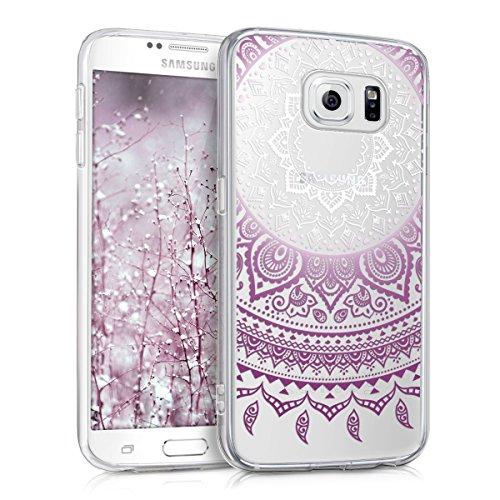 kwmobile Carcasa Compatible con Samsung Galaxy S6 / S6 Duos - Funda de TPU y Sol hindú en Violeta/Blanco/Transparente