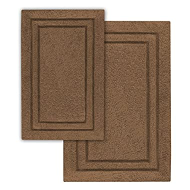 Superior 2-Pack Bath Rugs, Premium 100% Combed Cotton with Non-Slip Backing, Soft, Plush, Fast Drying and Absorbent - Chocolate, 20  x 30  and 24  x 36  Bath Mat Set
