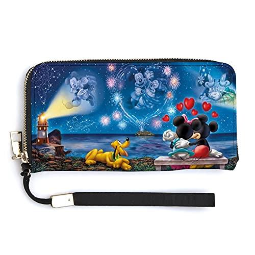 Mickey Cartoon Minnie Mouse cartera larga de gran capacidad, con cremallera multicompartimiento unisex a la moda exquisita cartera versátil tendencia