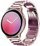 SUNDAREE Compatible con Correa Galaxy Watch Active2 40mm/44mm,20MM Metal Acero Inoxidable Reemplazo Correas Banda Pulseras con para Samsung Galaxy Watch Active 2 40mm/44mm(Active2 Rose Pink)