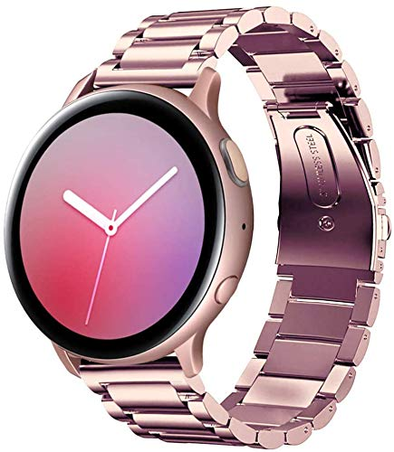 SUNDAREE Compatible con Correa Galaxy Watch Active2 40mm/44mm,20MM Metal Acero Inoxidable Reemplazo Correas Banda Pulseras con para Samsung Galaxy Watch Active 2 40mm/44mm(Active2 Rose Pink)