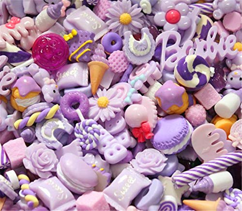 Assorted 30pcs Cute Candy Resin Charms Beads Fruit Dessert Ice Cream Plastic Slices Flatback Buttons for Handcraft Accessories Scrapbooking Phone Case Decor(Lilac)