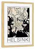 artboxONE Poster mit Rahmen Kiefer 45x30 cm Retro City Map