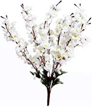 Sofix Artificial Peach Blossom Flower Bunch for Vase Home Decor Office Decor Hotel Decor, 20-inch/50 cm, White
