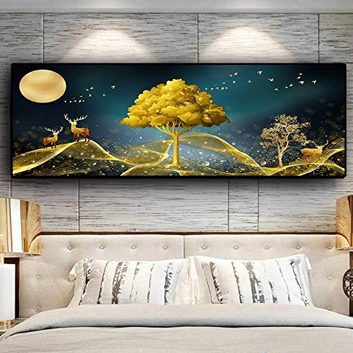 hetingyue Abstrakte natürliche goldene Baum- und Hirschlandschaftsplakate und -drucke skandinavische Leinwandwandkunstbild rahmenloses Gemälde 75x225cm