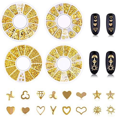 Chstarina 4 Boîtes Nail Art Stud, 3D Nail Art Décoration, Nail Art Perles, Ongles Art Strass, Or Métal Rivets Étoile Lune Soleil Coeur Mixte Bijoux d'ongles Manucure Décorations, 800Pcs