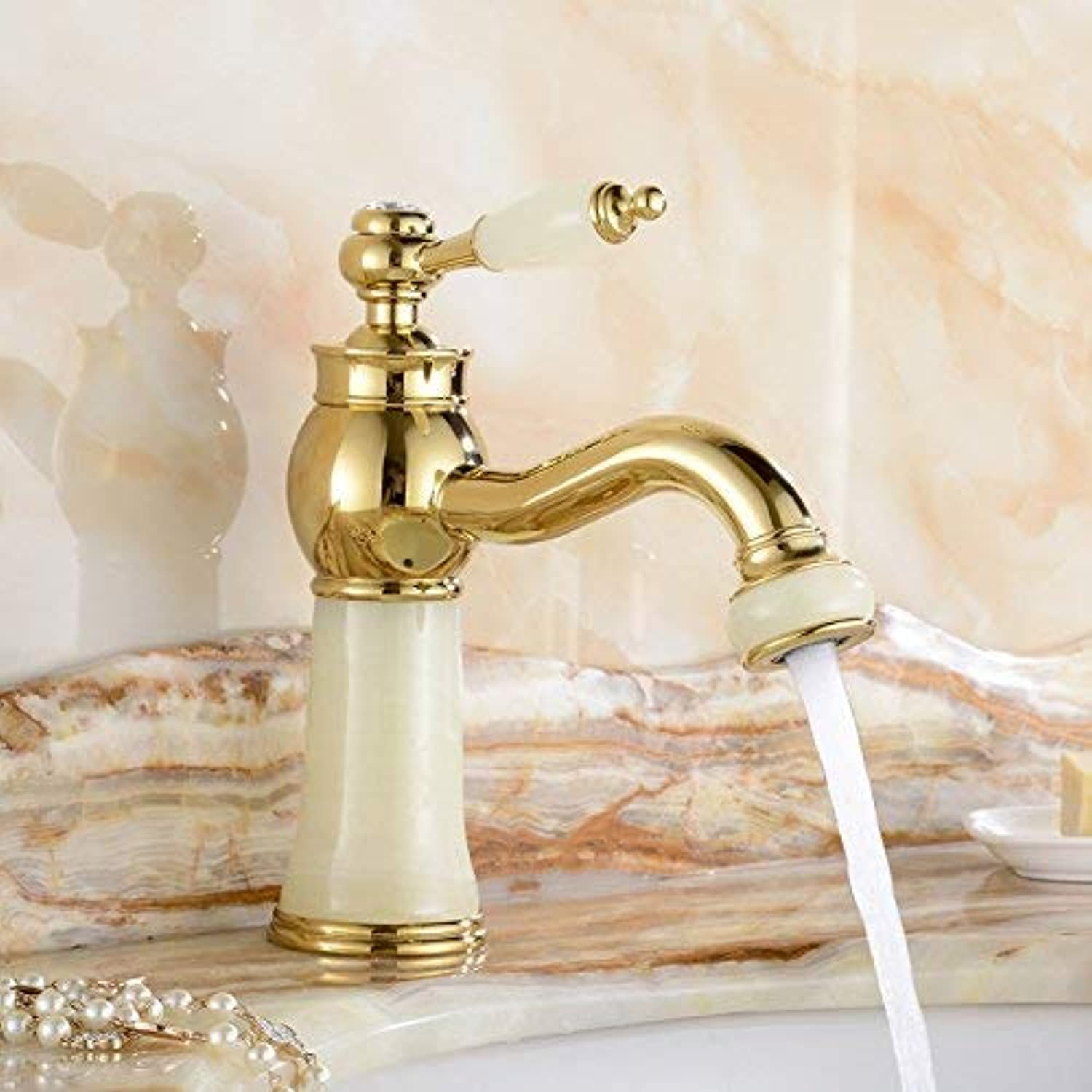 Oudan Basin Mixer Tap Bathroom Sink Faucet Euro-copper faucet hot and cold jade antique golden basin sink vanity table basin sinks retro, gold coffee faucet B (color   12)