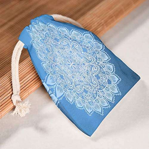 O2ECH-8 6-delige set gradient blauw amandela drawstrings opslag koordsluiting huwelijk ademend Toy tassen voor Thanksgiving jubileum geschenk wrap - Mandela kunst met patroon bedrukt 12 * 18cm wit