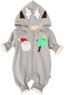 Fairy Baby Infant Baby Boy Girl Christmas Romper Winter Hood Thick Fleece Jumpsuit Outwear