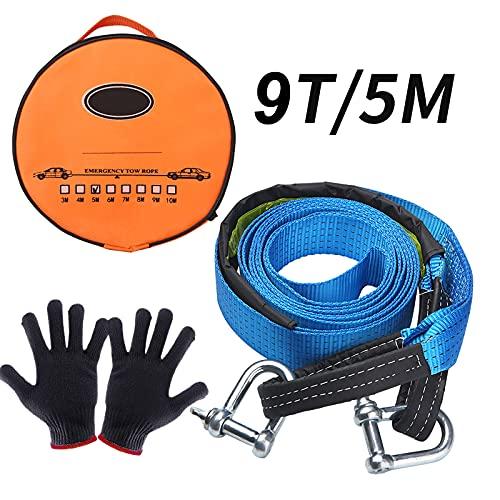 UIHOL Abschleppseil Auto, KFZ Notfall-Abschleppgurt 9 Tonnen Bruchfestigkeit 5M x 5CM, Dreifach verstärkte Schlaufenende für Sicherheit mit Rutsch Handschuhe und Aufbewahrungstasche (Aktualisierung)