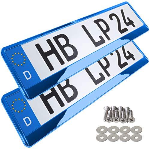 A159 Kennzeichenhalter 2 Stück Auto Nummernschildhalter blau chrom Kennzeichenverstärker Kennzeichenhalterung Nummernschildhalterung Verstärker Halter für Kennzeichen Nummernschild edel glänzend