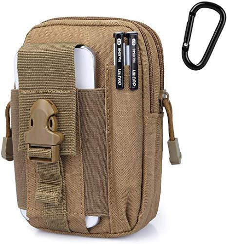 G4Free Taktische MOLLE-Tasche kompakt EDC Utility Gadget Taille Molle-Tasche Pack CCW Bauchtasche mit Handy-Holster für Laufen, Radfahren, Wandern, Camping, Klettern (Tan B)