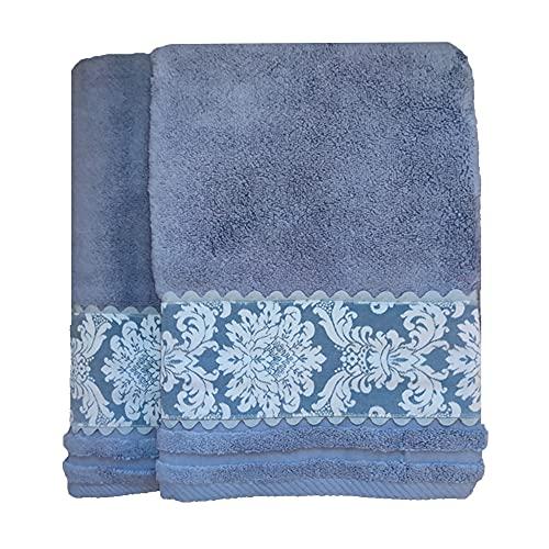 O´LANG-10026 - Juego 2 Toallas Premium de 600 Gramos con Greca Estampada, Color Azul, 100% Algodón. Compuesto por 1 Toalla de Lavabo (50x100cm) y 1 Toalla de baño Grande (100x150cm).