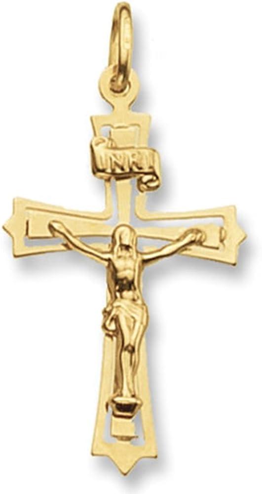 amandas silver boutique collana da uomo in oro 9 kt/375 con ciondolo a forma di crocifisso(1,21 gr) 3862-gm28