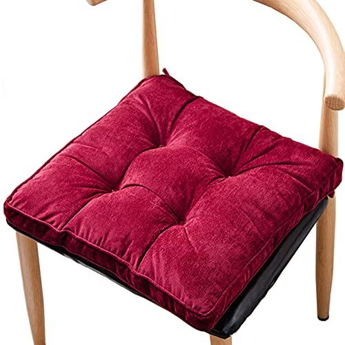 Cojines para sillas de patio Cojines con mechones Cojines cuadrados Cojín de nido de abeja Respaldo antideslizante para sillas de comedor de cocina al aire libre con lazos (45 * 45 cm),Red wine