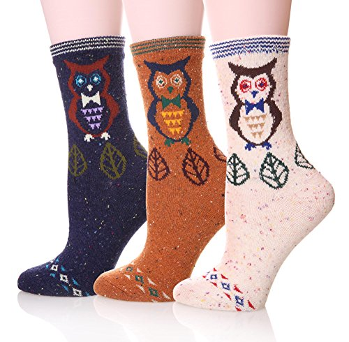 EBMORE Women's Animal Pattern Warm Socks For Winter (Owl),Free size