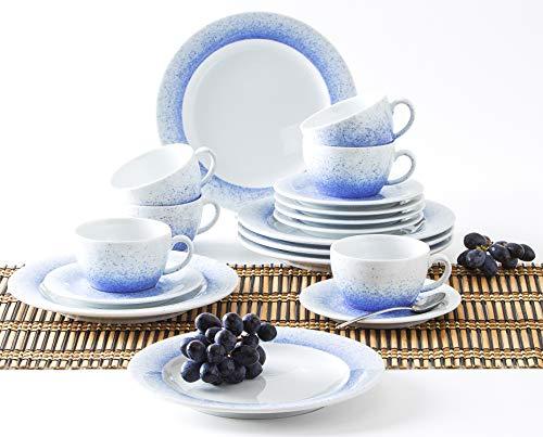 Kahla 570436O75005C Wir Machen Blau! Pronto Kaffeeservice 6 Person Porzellan 18 teilig Set Geschirr blauweiß Tee Kuchen