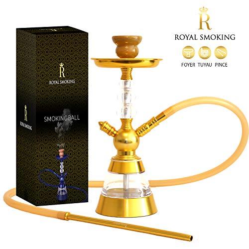 ROYAL SMOKING Shisha Chicha Design aus hochwertigem Acryl 38cm Schwarzer Pfeifenkamin und Platte… (Golden)