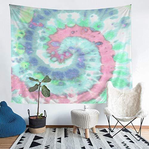 Tapiz de pared para niñas, diseño psicodélico, con espiral, para colgar en la pared, para niños, color rosa, azul verdoso, azul y fractal