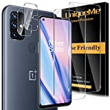 [2+2 Pack] UniqueMe Compatible for Oneplus Nord N10 5G Screen Protector Tempered Glass and Camera Lens Protector, Case Friendly - HD Clear - Anti Bubble [Not Fit for Oneplus Nord N100]