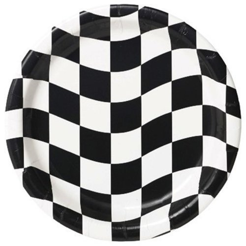 Creative Converting 24 Count Round Dessert Plates, Black and White Check