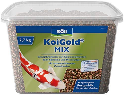 Söll 18796 KoiGold Mix 7 Liter 2,4 g - Ganzjahresfutter für Koifische mit Spurenelementen und Vitaminen zur vollwertigen Ernährung für Koiteich, Gartenteich, Fischteich