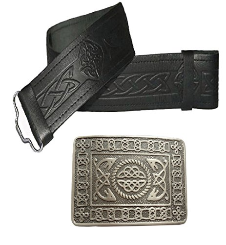 Maze Celtic style leather belt and buckle - many sizes and designs to choose from Black Embossed Black with Antique Celtic Buckle 86,36 cm