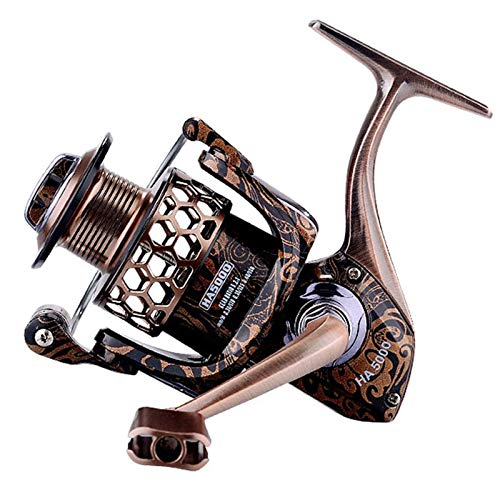 JIADIAONI Spinning Fishing Reels Lightweight Honeycomb Wire Cup 171BB Shielded Bearing 52:1 Alloy Transmission Gear Ratio HA Fine Carved Edition Fishing Reel HA5000