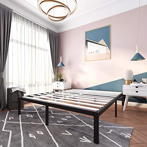 14 Inch Metal Platform Bed Frames / Wood Slat Support / No Box Spring Needed /...