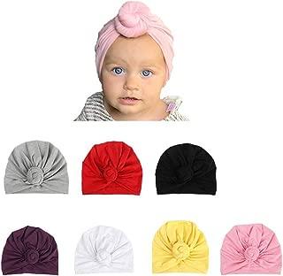 Udobuy 7 Pcs Headband Updated Version Baby Hat- Newborn Baby Girl Soft Cute Turban Knot Rabbit Hospital Hat