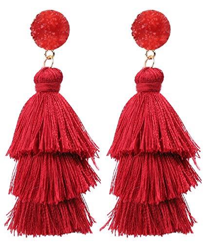 Rave Envy Pendientes de borla coloridos para mujer, pendientes de borla en capas, colores a elegir Una talla le queda a la mayoría rojo