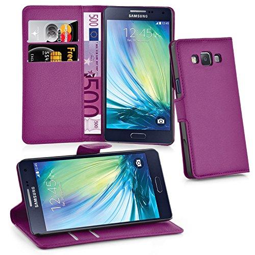 Cadorabo Hülle kompatibel mit Samsung Galaxy A5 2015 (5) Hülle in Mangan VIOLETT Handyhülle mit Kartenfach und Standfunktion Schutzhülle Etui Tasche