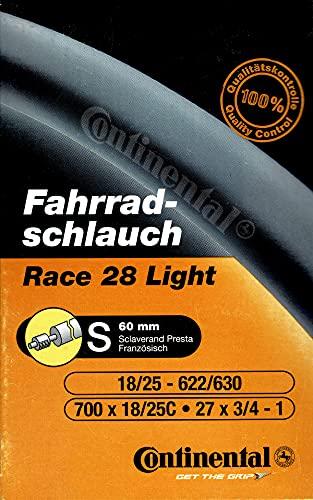 Continental Schlauch Race 28 Light SV 60 Fahrradschlauch, Schwarz (00 Black), 700 x 25cc