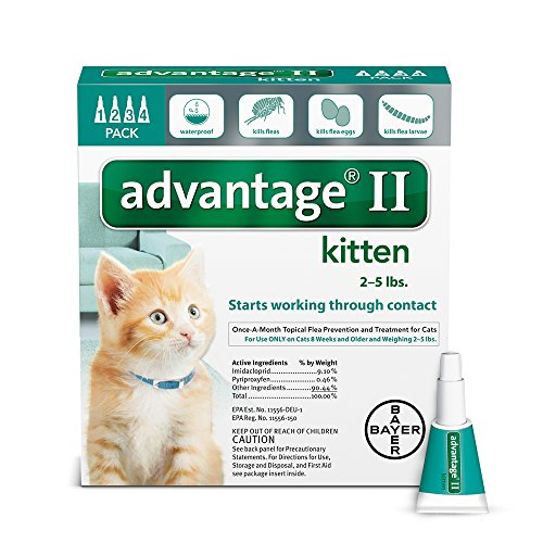Bayer Advantage II Kitten Flea Treatment for Kittens, 2 - 5 lb, 4 doses