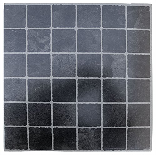 Baldosas autoadhesivas pequeño negro gris azulejos–Suelo de vinilo cocina