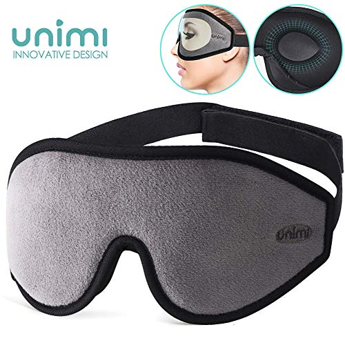 Eye Mask for Sleeping, Unimi 3D Contoured Sleep Mask for Women Men, Super Soft and Comfortable,100% Blockout Light 3D Eye Cover & Blindfold for Travel, Shift Work, Naps (Grey)